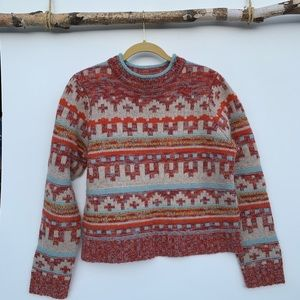 Sundance lambs wool and angora pattered sweater